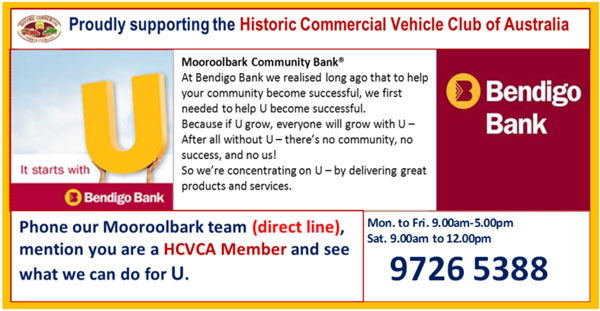 The HCVC thank Bendigo Bank for their Support