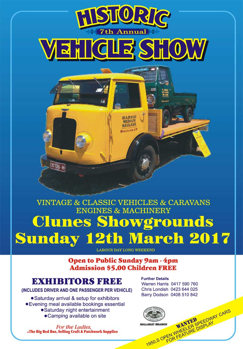 2017 Clunes Historic Truck Show Flyer
