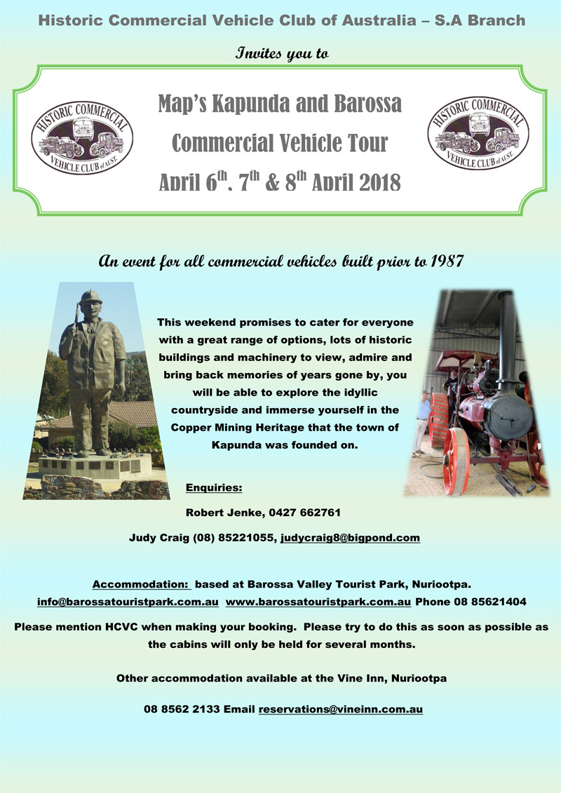 Map's Kapunda Barossa Commercial Vehicle Tour flyer