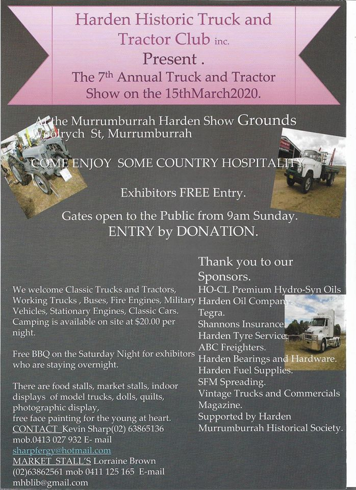 Harden Truck and Tractor Show 2020, NSW- 15th March Flyer